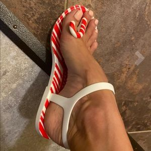 Katy Perry Jelly Peppermint Candy Cane Sandals